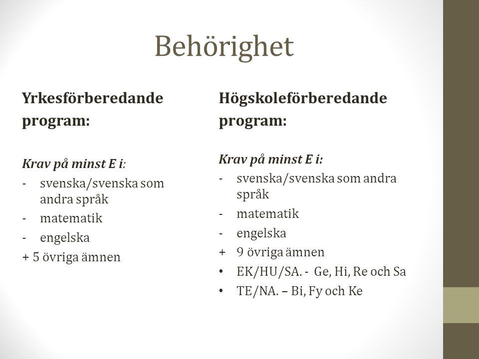 Behörighet Yrkesförberedande program: Krav på minst E i: -svenska/svenska som andra språk -matematik -engelska + 5 övriga ämnen Högskoleförberedande p