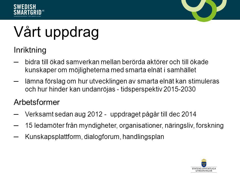 Vårt uppdrag Inriktning – bidra till ökad samverkan mellan berörda aktörer och till ökade kunskaper om möjligheterna med smarta elnät i samhället – lämna förslag om hur utvecklingen av smarta elnät kan stimuleras och hur hinder kan undanröjas - tidsperspektiv 2015-2030 Arbetsformer – Verksamt sedan aug 2012 - uppdraget pågår till dec 2014 – 15 ledamöter från myndigheter, organisationer, näringsliv, forskning – Kunskapsplattform, dialogforum, handlingsplan