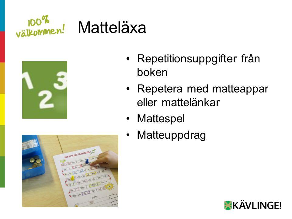 Matteläxa Repetitionsuppgifter från boken Repetera med matteappar eller mattelänkar Mattespel Matteuppdrag