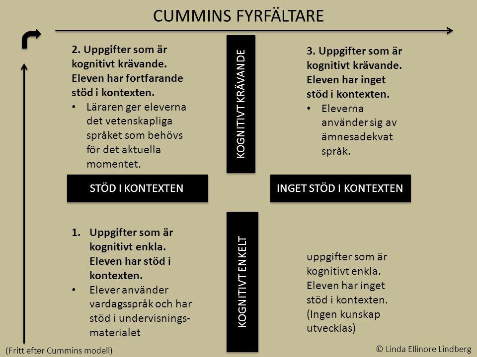 CUMMINS FYRFÄLTARE STÖD I KONTEXTEN INGET STÖD I KONTEXTEN KOGNITIVT KRÄVANDE KOGNITIVT ENKELT 2.