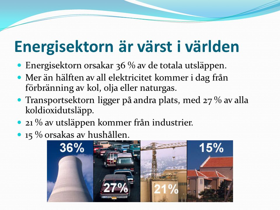Energisektorn är värst i världen Energisektorn orsakar 36 % av de totala utsläppen. Mer än hälften av all elektricitet kommer i dag från förbränning a