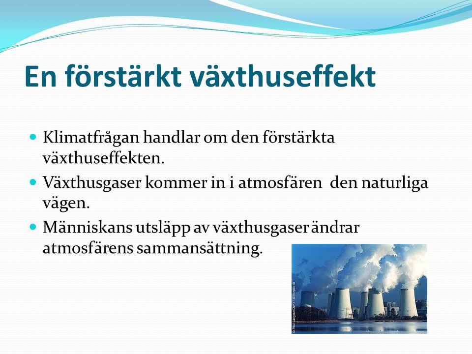 En förstärkt växthuseffekt Klimatfrågan handlar om den förstärkta växthuseffekten. Växthusgaser kommer in i atmosfären den naturliga vägen. Människans