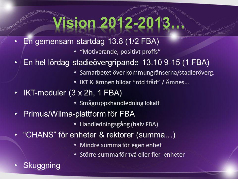 En gemensam startdag 13.8 (1/2 FBA) Motiverande, positivt proffs En hel lördag stadieövergripande 13.10 9-15 (1 FBA) Samarbetet över kommungränserna/stadieröverg.