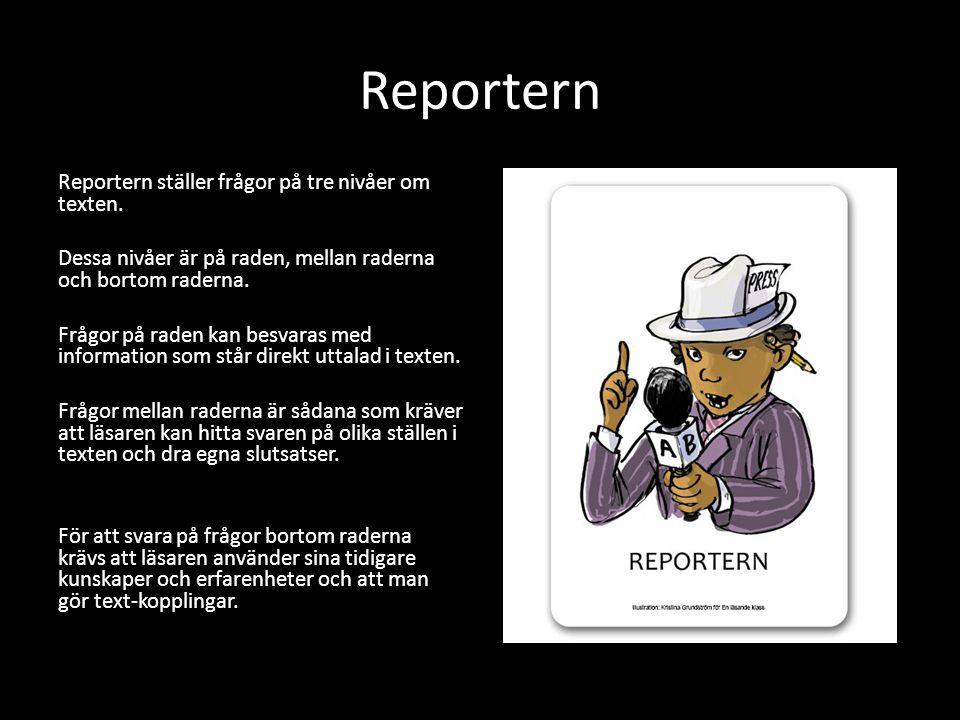 Reporteruppgift Din uppgift idag är att utifrån det du läst idag i boken tillverka: 2 frågor på raden 1 fråga mellan raderna 2 frågor bortom raderna Gör frågorna på lösblad.