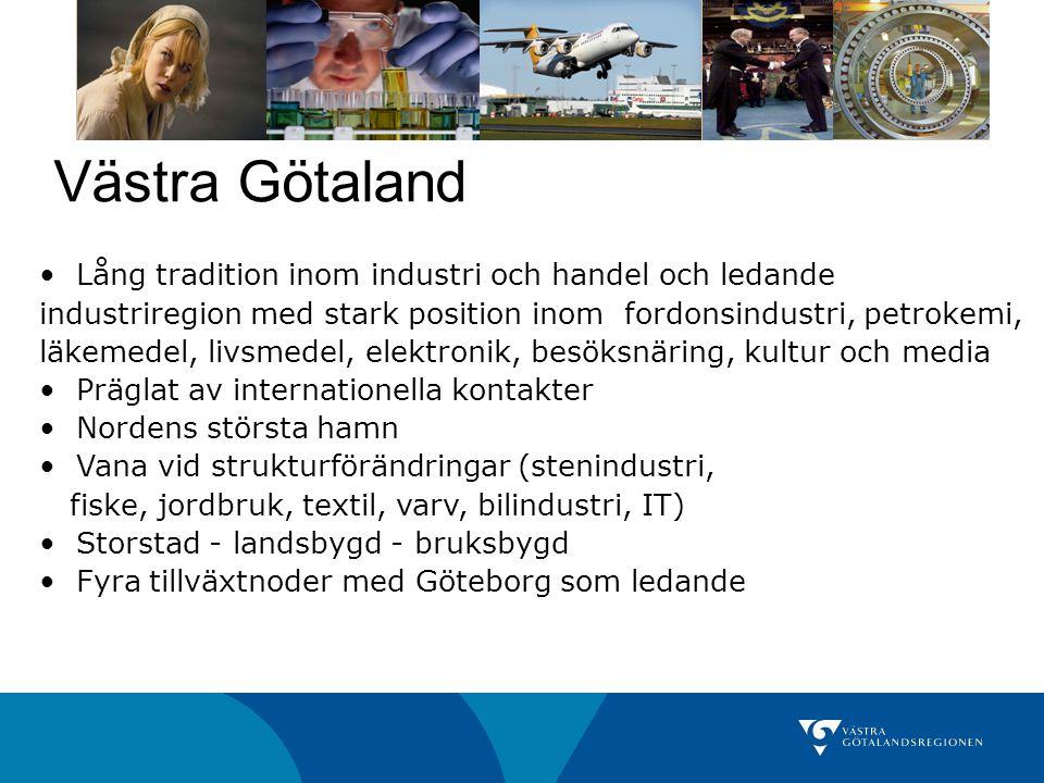 Västra Götaland Lång tradition inom industri och handel och ledande industriregion med stark position inom fordonsindustri, petrokemi, läkemedel, livs