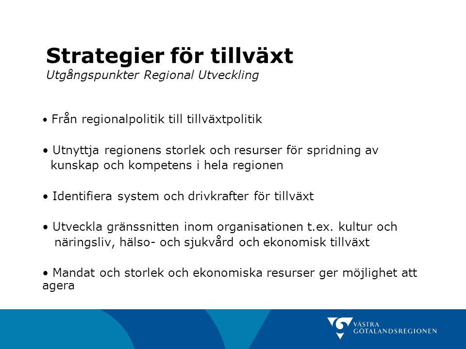 Strategier för tillväxt Utgångspunkter Regional Utveckling Från regionalpolitik till tillväxtpolitik Utnyttja regionens storlek och resurser för sprid