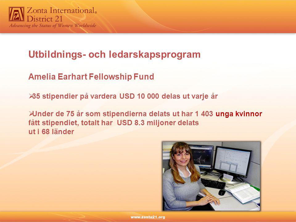 Utbildnings- och ledarskapsprogram Amelia Earhart Fellowship Fund  35 stipendier på vardera USD 10 000 delas ut varje år  Under de 75 år som stipendierna delats ut har 1 403 unga kvinnor fått stipendiet, totalt har USD 8.3 miljoner delats ut i 68 länder