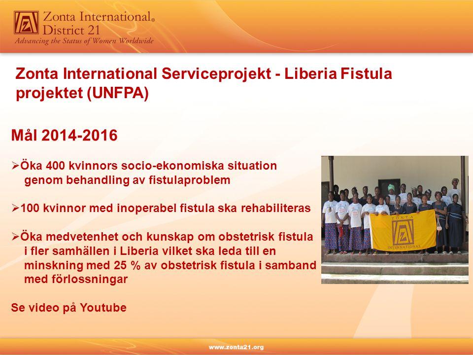 Zonta International Serviceprojekt - Liberia Fistula projektet (UNFPA) Mål 2014-2016  Öka 400 kvinnors socio-ekonomiska situation genom behandling av fistulaproblem  100 kvinnor med inoperabel fistula ska rehabiliteras  Öka medvetenhet och kunskap om obstetrisk fistula i fler samhällen i Liberia vilket ska leda till en minskning med 25 % av obstetrisk fistula i samband med förlossningar Se video på Youtube
