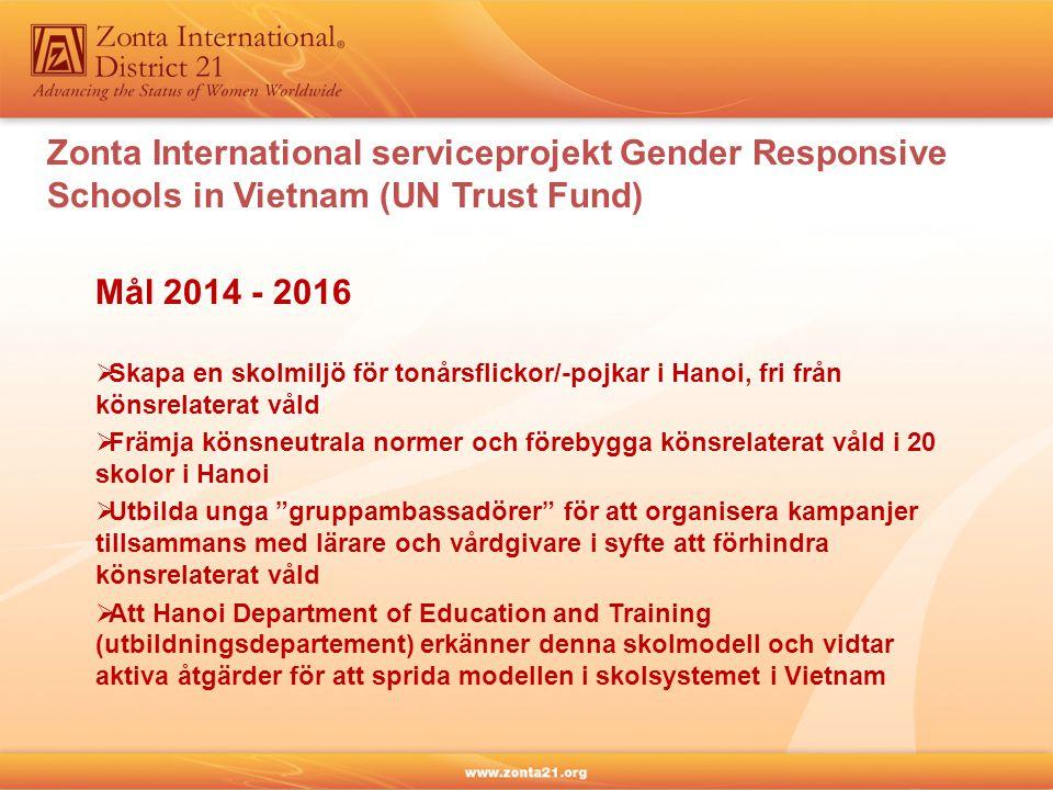 Mål 2014 - 2016  Skapa en skolmiljö för tonårsflickor/-pojkar i Hanoi, fri från könsrelaterat våld  Främja könsneutrala normer och förebygga könsrelaterat våld i 20 skolor i Hanoi  Utbilda unga gruppambassadörer för att organisera kampanjer tillsammans med lärare och vårdgivare i syfte att förhindra könsrelaterat våld  Att Hanoi Department of Education and Training (utbildningsdepartement) erkänner denna skolmodell och vidtar aktiva åtgärder för att sprida modellen i skolsystemet i Vietnam Zonta International serviceprojekt Gender Responsive Schools in Vietnam (UN Trust Fund)