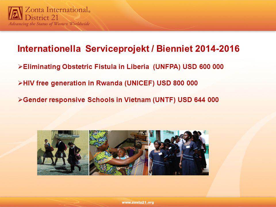ZISVAW-projekt / Bienniet 2014-2016  Delaying early Marriage in Niger, dvs minska antalet barnäktenskap och tidiga graviditeter i Niger (UNFPA) USD 1 000 000  Voices against Violence in 12 countries, dvs förebygga och minska könsdiskriminering och våld mot kvinnor / flickor genom informell utbildning av unga ledare (UN Women) USD 986 000