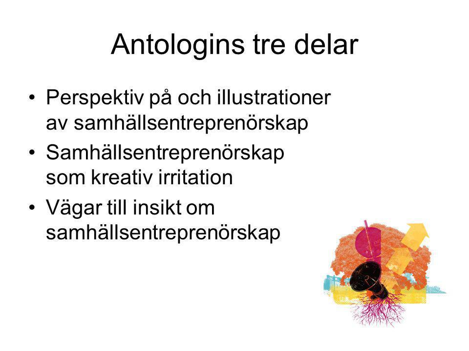 Antologins tre delar Perspektiv på och illustrationer av samhällsentreprenörskap Samhällsentreprenörskap som kreativ irritation Vägar till insikt om s