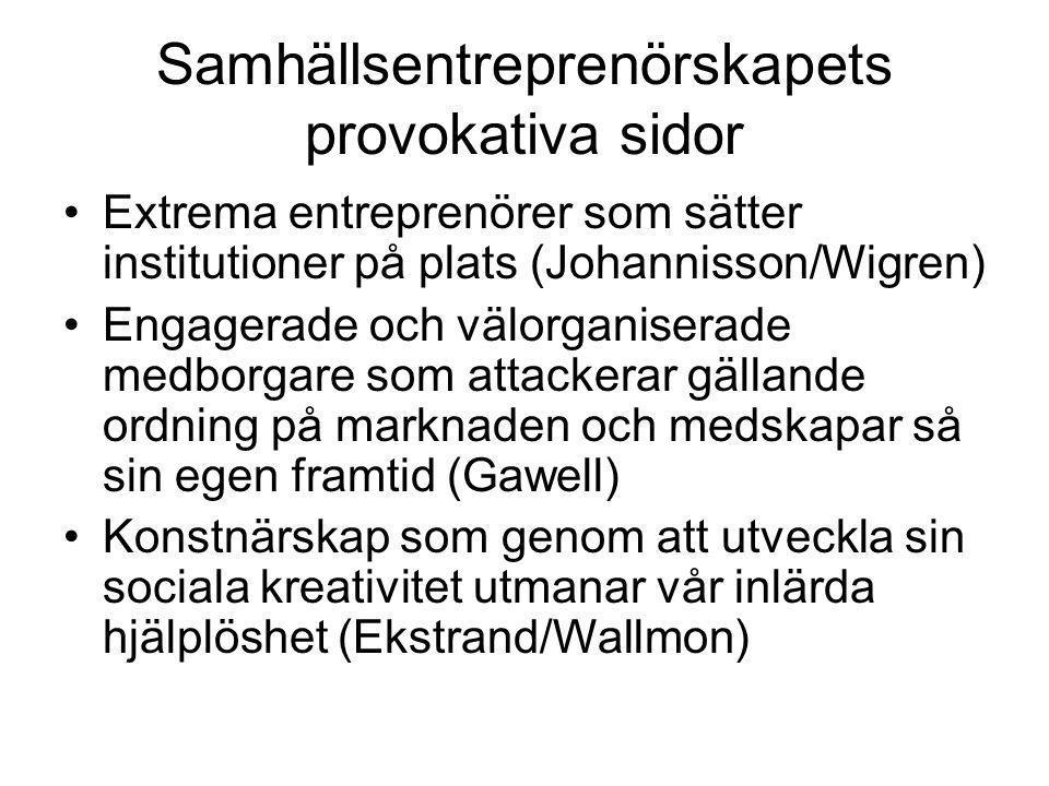 Samhällsentreprenörskapets provokativa sidor Extrema entreprenörer som sätter institutioner på plats (Johannisson/Wigren) Engagerade och välorganisera