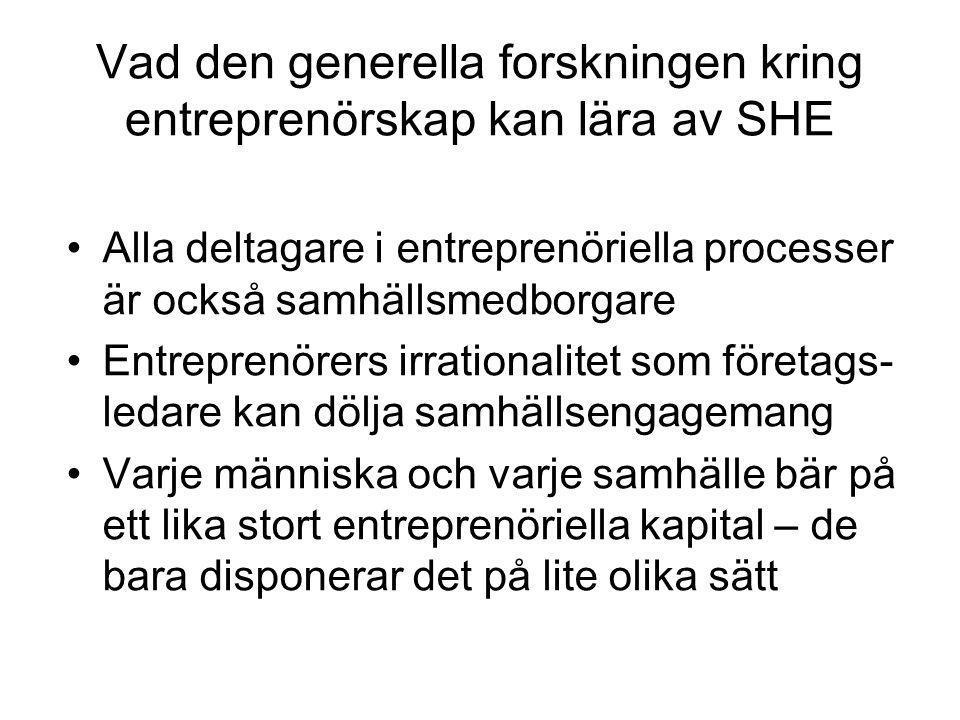 Vad den generella forskningen kring entreprenörskap kan lära av SHE Alla deltagare i entreprenöriella processer är också samhällsmedborgare Entreprenö