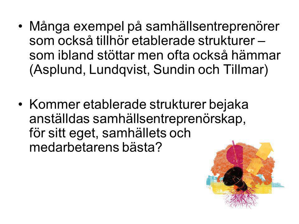Många exempel på samhällsentreprenörer som också tillhör etablerade strukturer – som ibland stöttar men ofta också hämmar (Asplund, Lundqvist, Sundin
