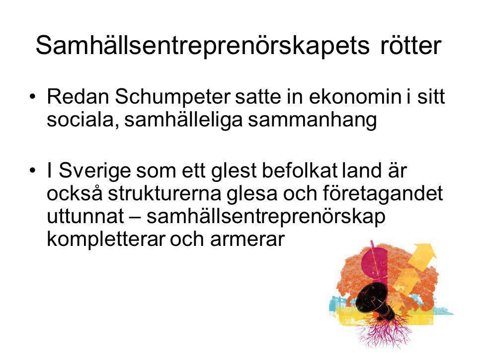 Samhällsentreprenörskapets rötter Redan Schumpeter satte in ekonomin i sitt sociala, samhälleliga sammanhang I Sverige som ett glest befolkat land är