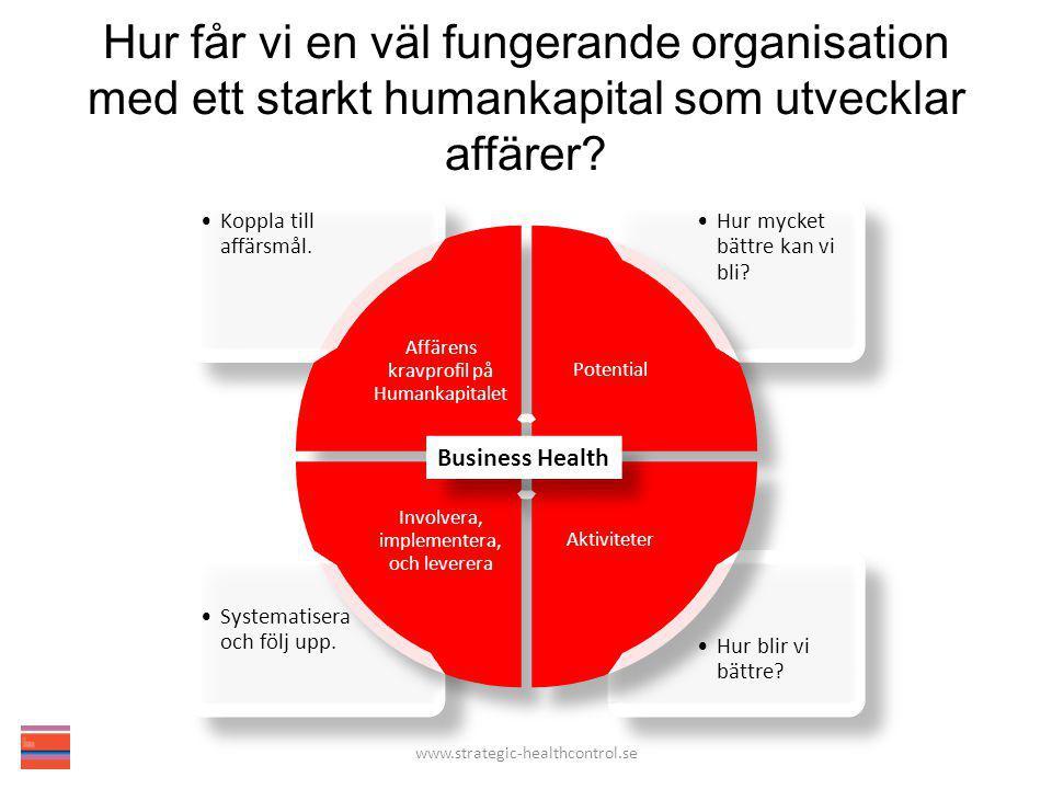 Hur får vi en väl fungerande organisation med ett starkt humankapital som utvecklar affärer? Business Health www.strategic-healthcontrol.se