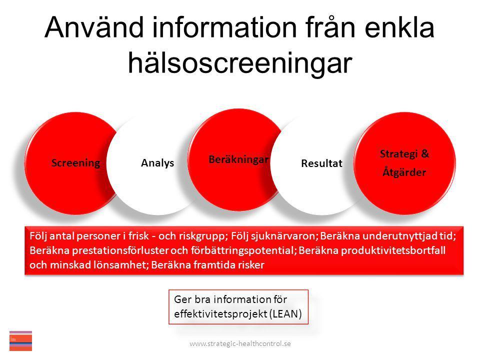 Använd information från enkla hälsoscreeningar Följ antal personer i frisk - och riskgrupp; Följ sjuknärvaron; Beräkna underutnyttjad tid; Beräkna pre