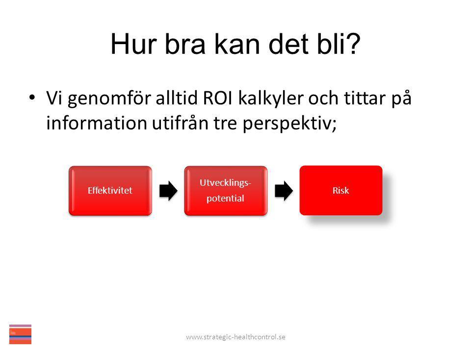 Hur bra kan det bli? Vi genomför alltid ROI kalkyler och tittar på information utifrån tre perspektiv; www.strategic-healthcontrol.se