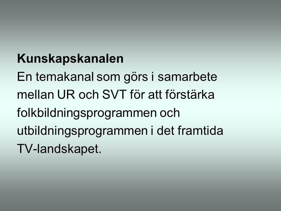 Kunskapskanalen En temakanal som görs i samarbete mellan UR och SVT för att förstärka folkbildningsprogrammen och utbildningsprogrammen i det framtida