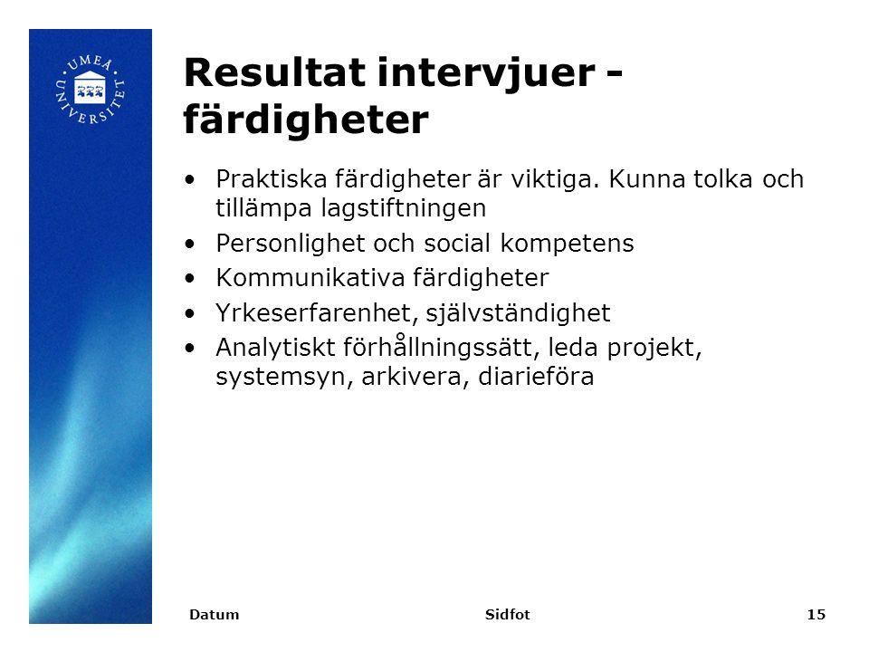Resultat intervjuer - färdigheter Praktiska färdigheter är viktiga.