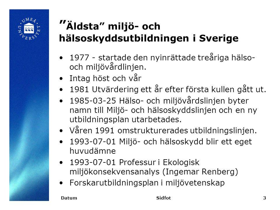 Äldsta miljö- och hälsoskyddsutbildningen i Sverige 1977 - startade den nyinrättade treåriga hälso- och miljövårdlinjen.