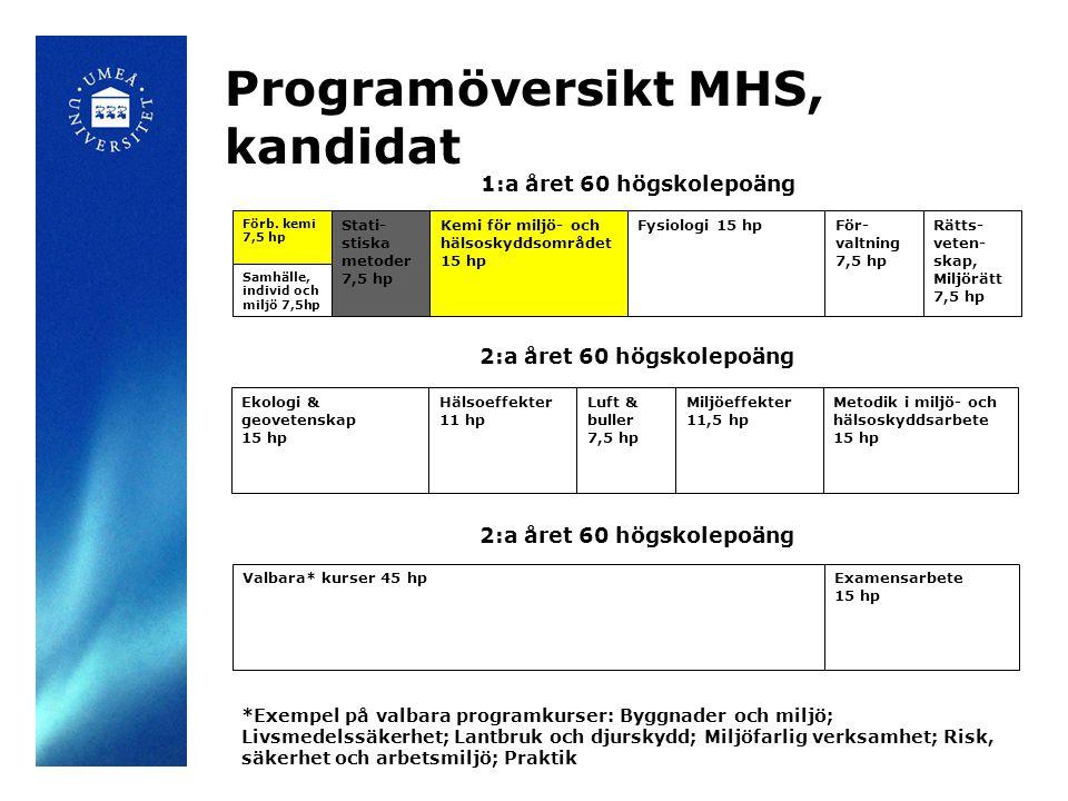 2:a året 60 högskolepoäng Kemi för miljö- och hälsoskyddsområdet 15 hp Programöversikt MHS, kandidat Förb.