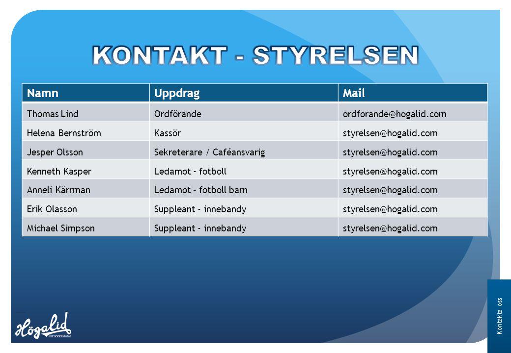 Kontakta oss NamnUppdragMail Thomas LindOrdförandeordforande@hogalid.com Helena BernströmKassörstyrelsen@hogalid.com Jesper OlssonSekreterare / Caféan