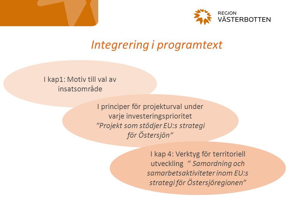 """Integrering i programtext I kap1: Motiv till val av insatsområde I principer för projekturval under varje investeringsprioritet """"Projekt som stödjer E"""