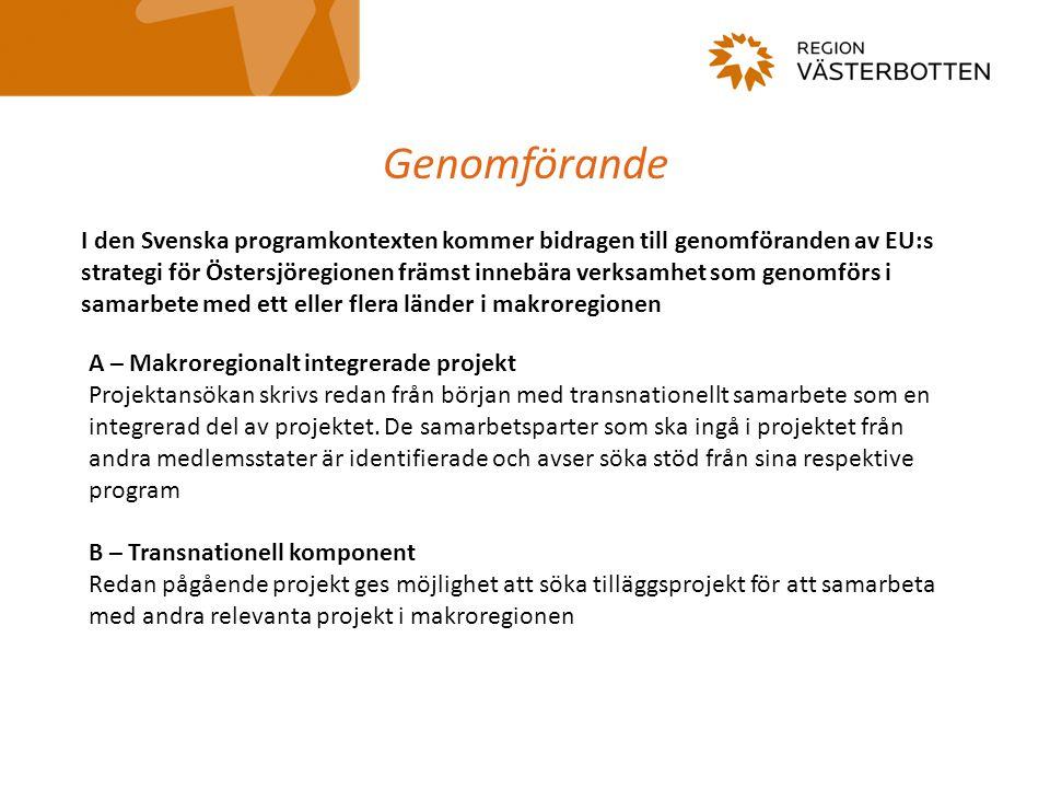 Genomförande A – Makroregionalt integrerade projekt Projektansökan skrivs redan från början med transnationellt samarbete som en integrerad del av pro