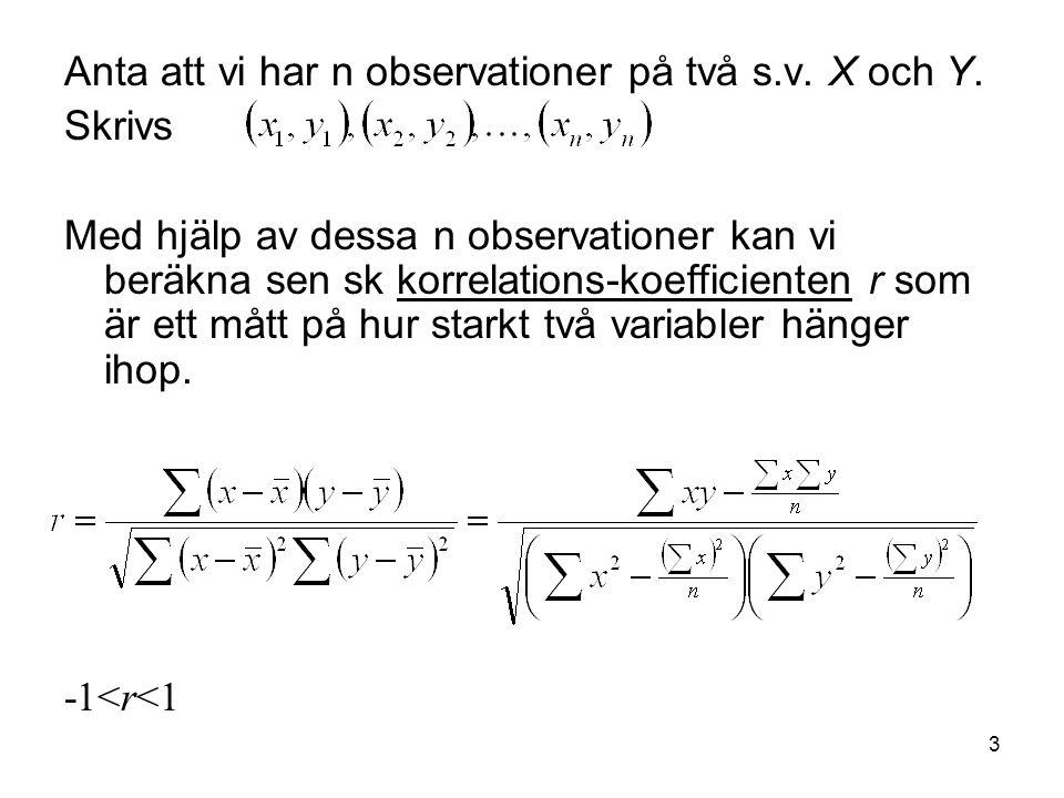4 Ex: 10 obs på flickors x = vikt, y = längd x 63 52 72 57 63 54 49 57 61 51 y165 161 170 163 169 164 161 161 165 162