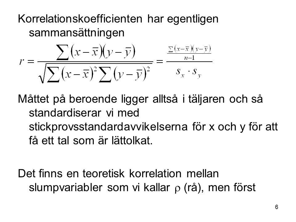 7 Vi sammanställer Datamaterial Medelvärde Stickprovsvarians Stickprovsstandaravvikelse s Korrelationskoefficient r Teori Väntevärde E[X] Varians Var[X] Standardavvikelse Korrelation 
