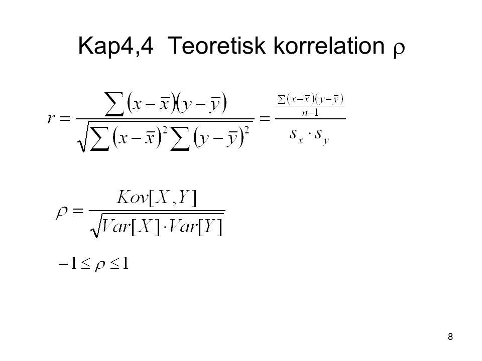 9 läses; Kovariansen mellan slumpvariablerna X och Y.
