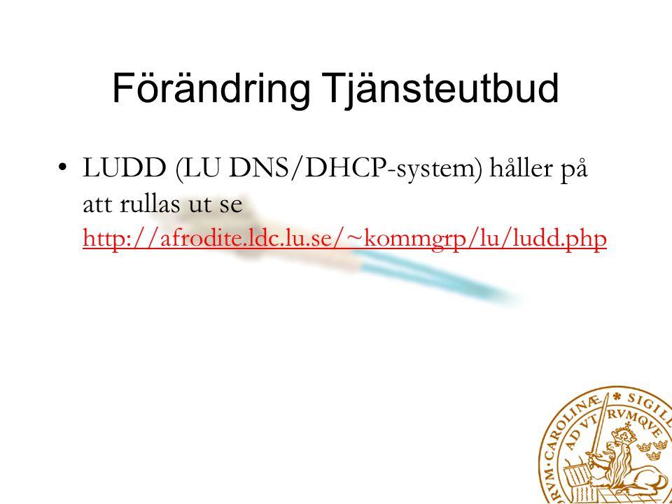 Förändring Tjänsteutbud LUDD (LU DNS/DHCP-system) håller på att rullas ut se http://afrodite.ldc.lu.se/~kommgrp/lu/ludd.php http://afrodite.ldc.lu.se/~kommgrp/lu/ludd.php