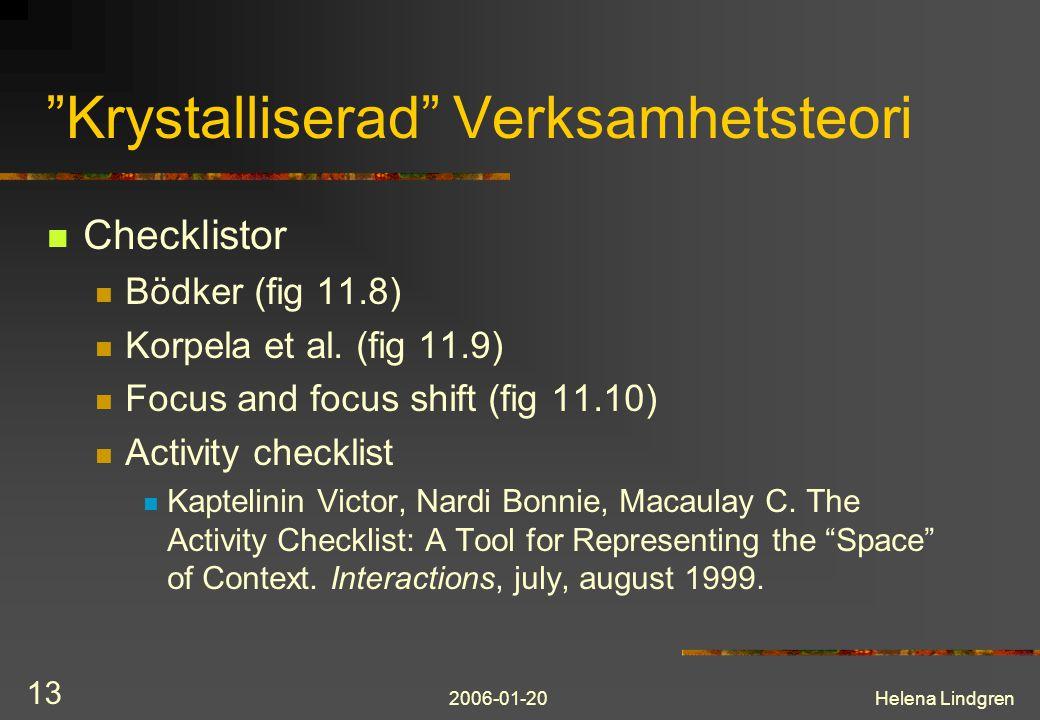 2006-01-20Helena Lindgren 13 Krystalliserad Verksamhetsteori Checklistor Bödker (fig 11.8) Korpela et al.