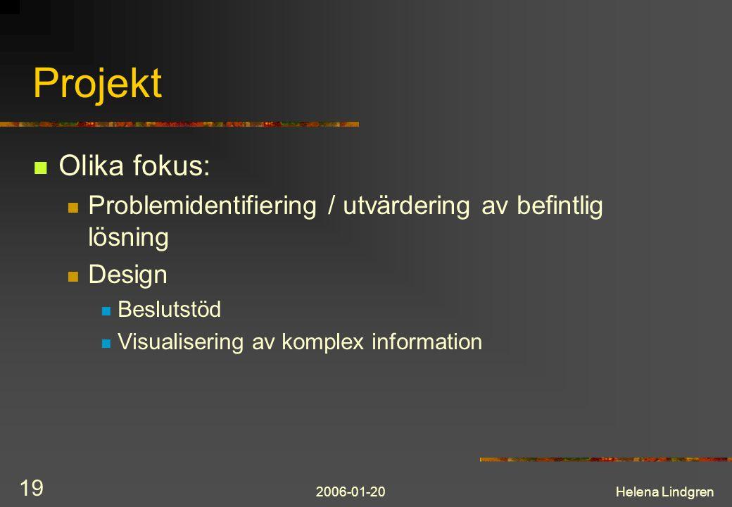 2006-01-20Helena Lindgren 19 Projekt Olika fokus: Problemidentifiering / utvärdering av befintlig lösning Design Beslutstöd Visualisering av komplex information