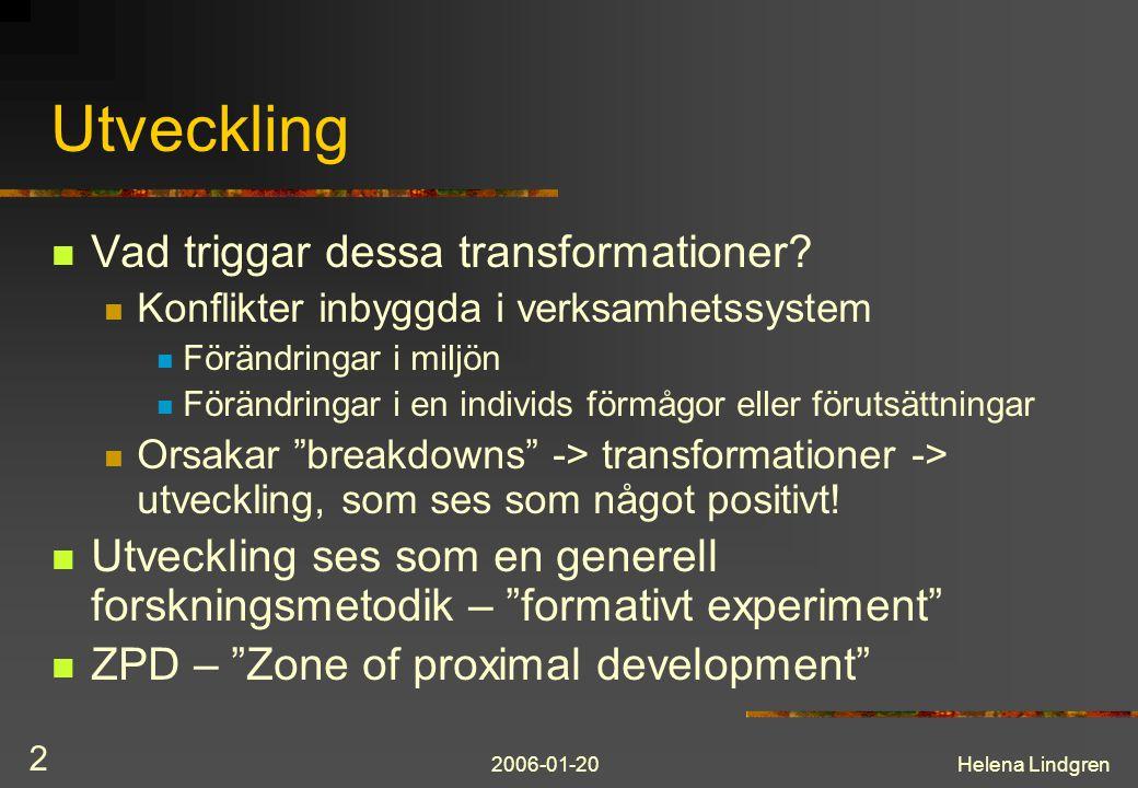 2006-01-20Helena Lindgren 2 Utveckling Vad triggar dessa transformationer.
