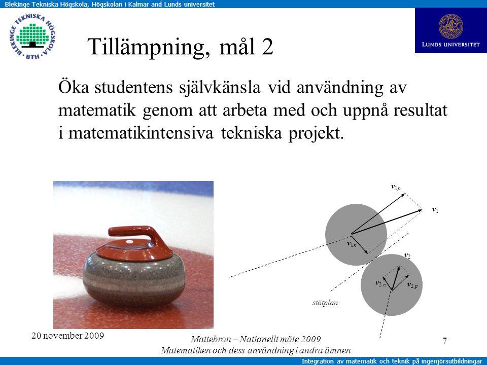 Blekinge Tekniska Högskola, Högskolan i Kalmar and Lunds universitet Integration av matematik och teknik på ingenjörsutbildningar 7 Tillämpning, mål 2 Öka studentens självkänsla vid användning av matematik genom att arbeta med och uppnå resultat i matematikintensiva tekniska projekt.