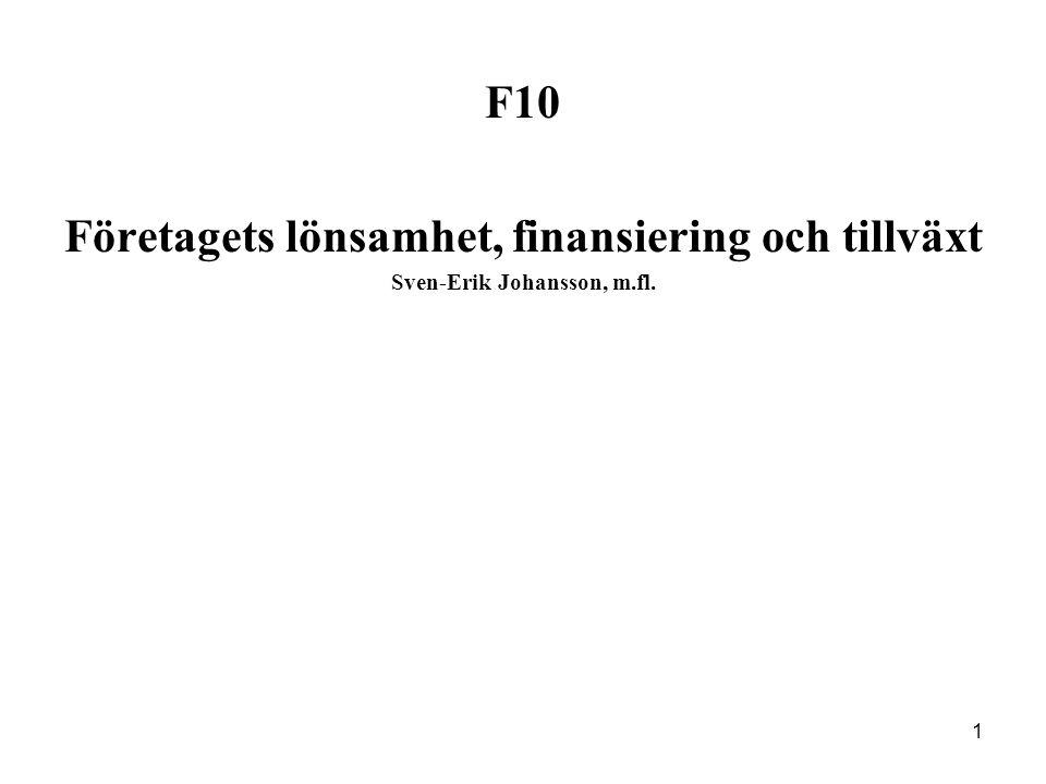 1 F10 Företagets lönsamhet, finansiering och tillväxt Sven-Erik Johansson, m.fl.