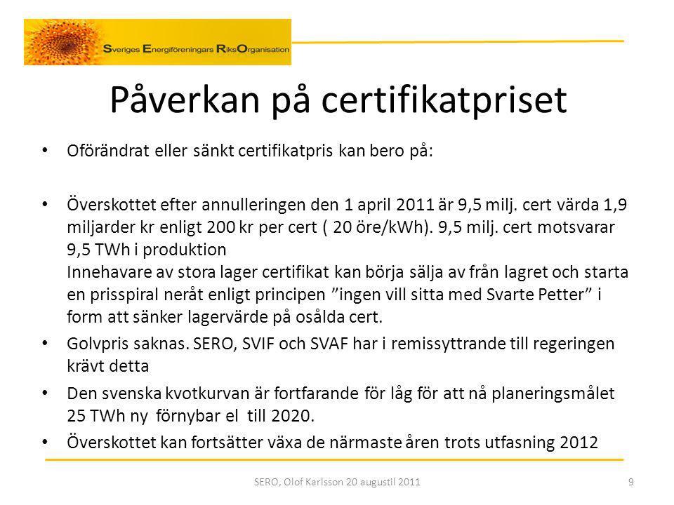 Påverkan på certifikatpriset Oförändrat eller sänkt certifikatpris kan bero på: Överskottet efter annulleringen den 1 april 2011 är 9,5 milj.