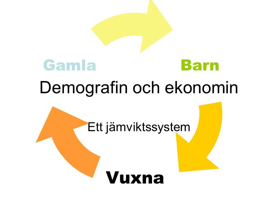 Demografin och ekonomin Ett jämviktssystem Barn Vuxna Gamla