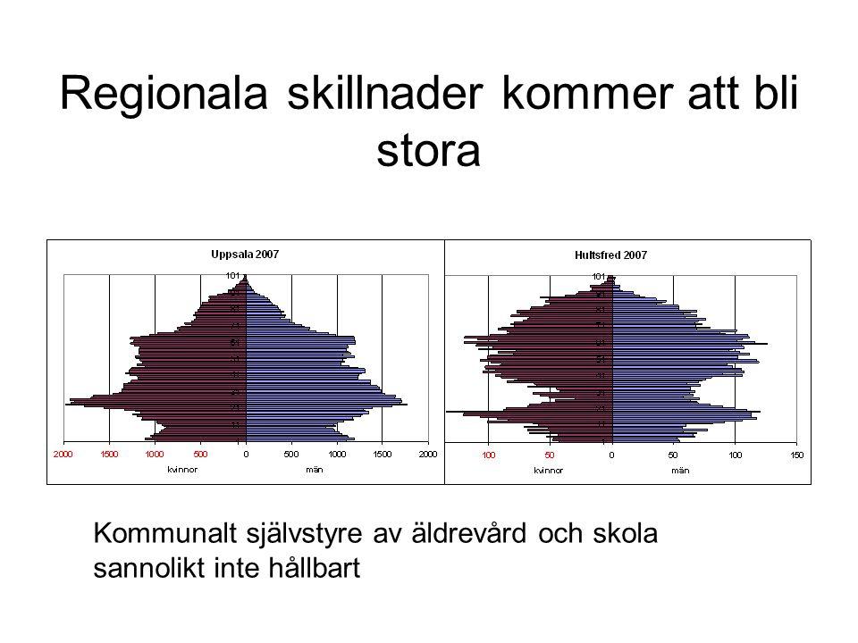 Regionala skillnader kommer att bli stora Kommunalt självstyre av äldrevård och skola sannolikt inte hållbart