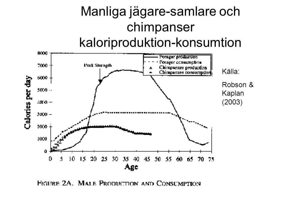 Källa: Robson & Kaplan (2003) Manliga jägare-samlare och chimpanser kaloriproduktion-konsumtion