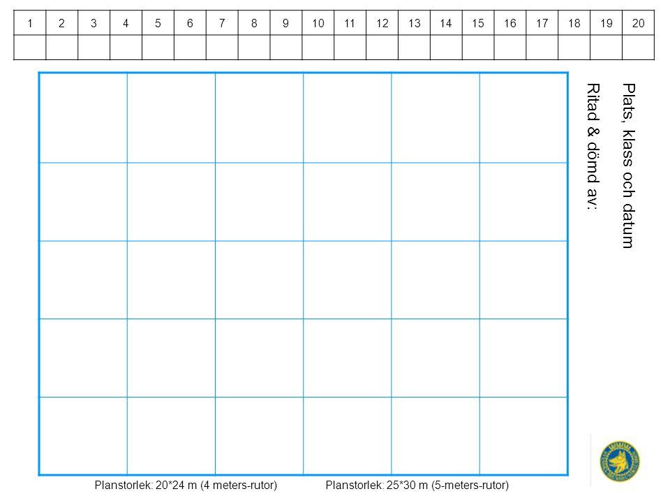 Plats, klass och datumRitad & dömd av: Planstorlek: 20*24 m (4 meters-rutor)Planstorlek: 25*30 m (5-meters-rutor) 1234567891011121314151617181920