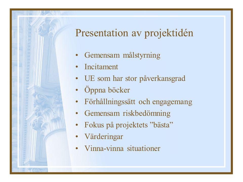 Presentation av projektidén Gemensam målstyrning Incitament UE som har stor påverkansgrad Öppna böcker Förhållningssätt och engagemang Gemensam riskbe