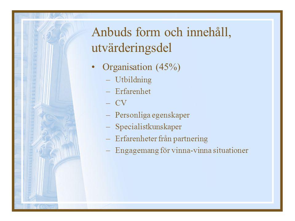 Anbuds form och innehåll, utvärderingsdel Organisation (45%) –Utbildning –Erfarenhet –CV –Personliga egenskaper –Specialistkunskaper –Erfarenheter frå