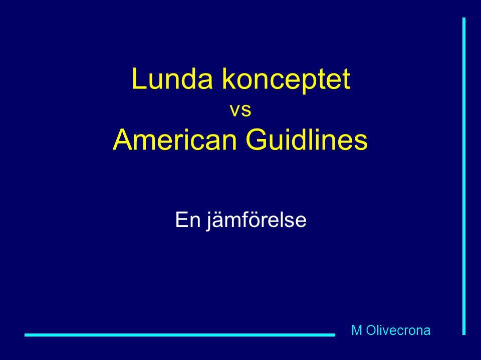M Olivecrona Lunda konceptet vs American Guidlines En jämförelse