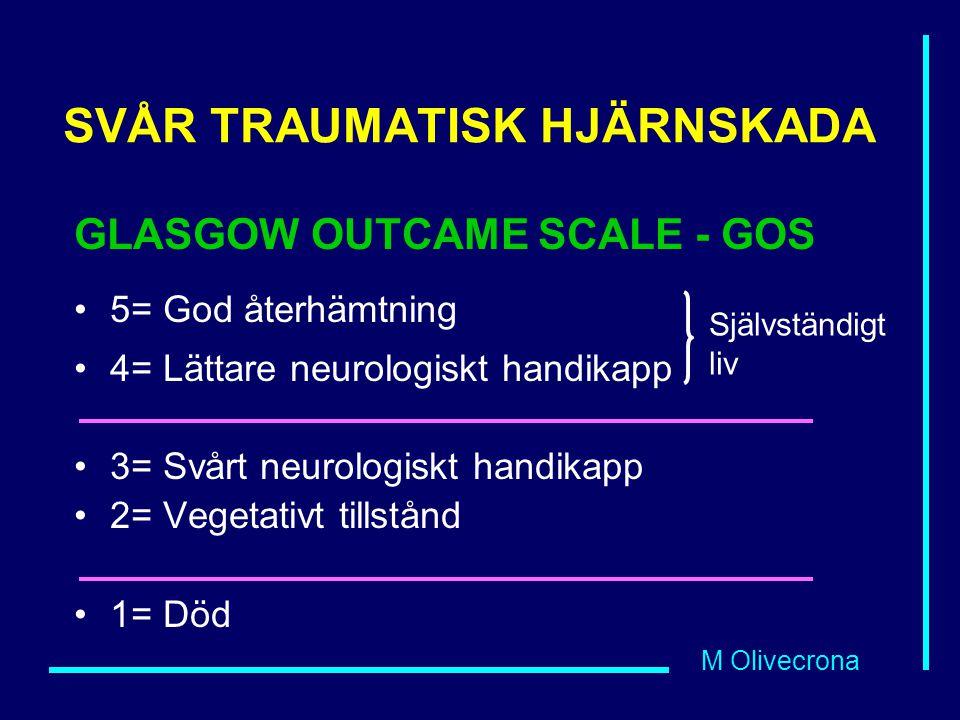 M Olivecrona SVÅR TRAUMATISK HJÄRNSKADA GLASGOW OUTCAME SCALE - GOS 5= God återhämtning 4= Lättare neurologiskt handikapp 3= Svårt neurologiskt handikapp 2= Vegetativt tillstånd 1= Död Självständigt liv