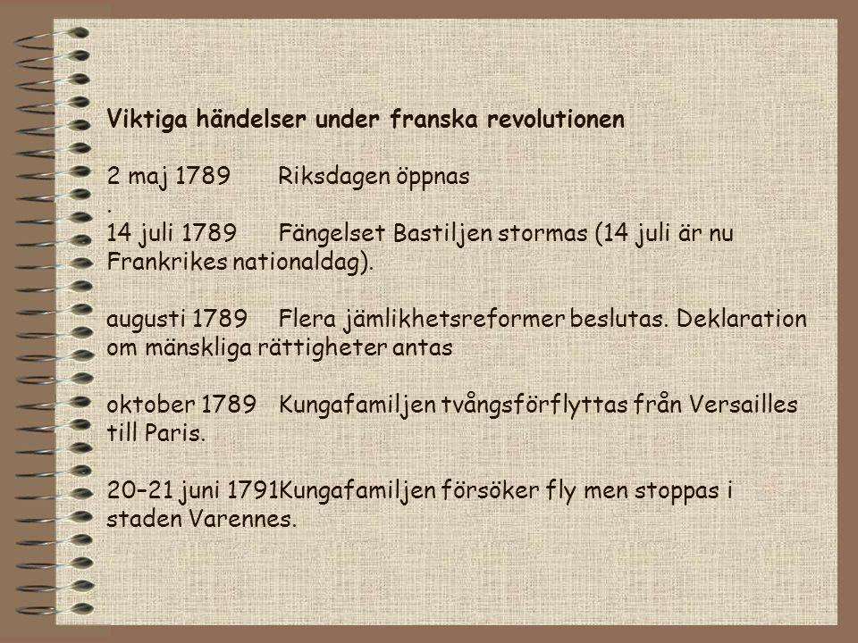 Viktiga händelser under franska revolutionen 2 maj 1789Riksdagen öppnas. 14 juli 1789Fängelset Bastiljen stormas (14 juli är nu Frankrikes nationaldag