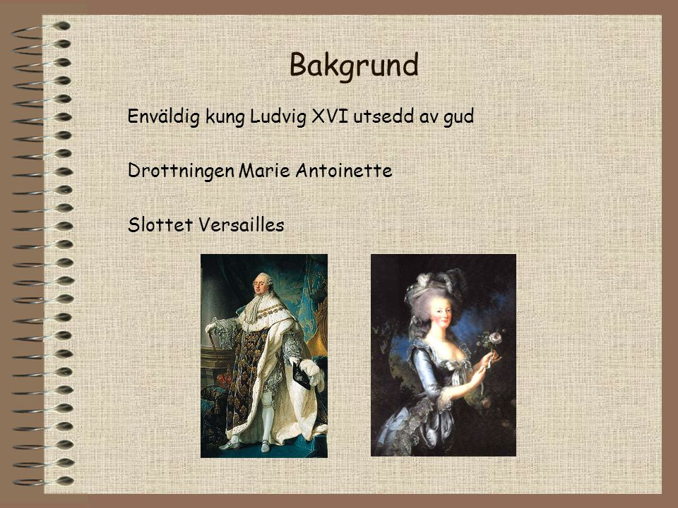 Bakgrund Enväldig kung Ludvig XVI utsedd av gud Drottningen Marie Antoinette Slottet Versailles