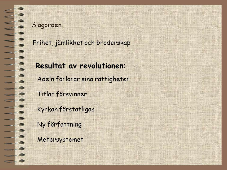 Slagorden Frihet, jämlikhet och broderskap Resultat av revolutionen: Adeln förlorar sina rättigheter Titlar försvinner Kyrkan förstatligas Ny författn